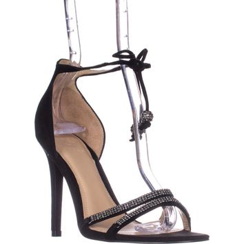 Guess Peri Tie Up Ankle Strap Heeled Sandals, Black, 9.5 US