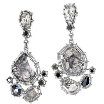 Tura Sugden One of a Kind Gray and Black Diamond Palladium Gold Drop Earrings