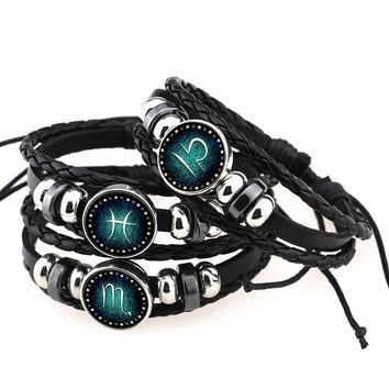 Fashion 12 Constellations Bracelets For Men Boys Jewelry Bangle Travel Accessories