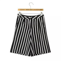 Women's Fashion Summer High Rise Stripes Pants Casual Knit Shorts [4920270724]