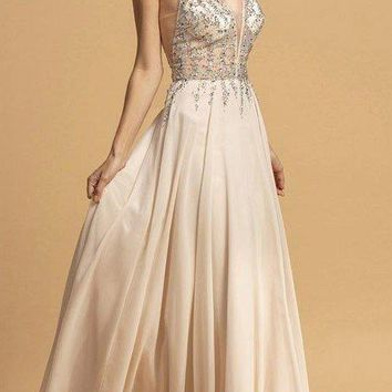 54beb027cda Champagne Chiffon Floor-Length Prom Dress V-Neck and Back