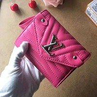 Louis Vuitton High Quality Popular Popular Women Retro Metal LV Letter Leather Wallet Purse Rose Red