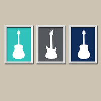 GUITAR Wall Art Boy Nursery Canvas Artwork Child Turquoise Charcoal Navy Custom Colors Set of 3 Trio Prints Baby Decor Bedroom Three