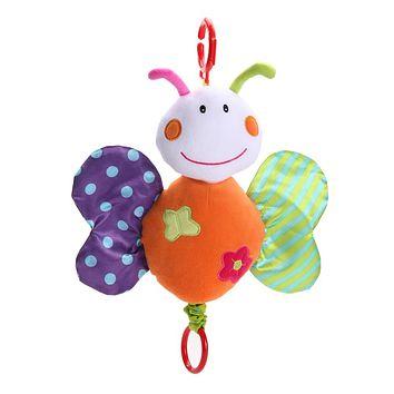 Baby Rattle Cute Cartoon Butterfly Doll Baby Kids Soft Stroller Bed Hanging Music Educational Toy Gift