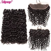 Brazilian Water Wave Ear To Ear Lace Frontal Closure With Bundles Human Hair 3 Bundles Alipop Closure With Baby Hair NonRemy 4pc