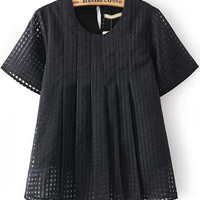 Black Short Sleeve Plaid Organza Blouse