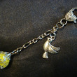 Dove Peace Yellow Fried Marble Glass Charm Keychain