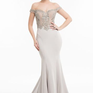 Terani Couture - 1821E7130 Two-Toned Embroidered Bodice Mermaid Gown