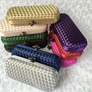 Famous Brand Design Knitting Banquet Party Evening Bag Knot Hasp Vintage Women Weave Day Clutches Wedding Handbags and Purses
