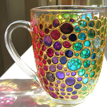 Hand painted Coffee Mug Multi Coloured Bubbles, Glass cup