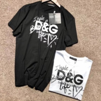 D&G Dolce & Gabbana Short Sleeve Graffiti Love Hand-painted Signature Limited T-Shirt F-ADD-MRY Black