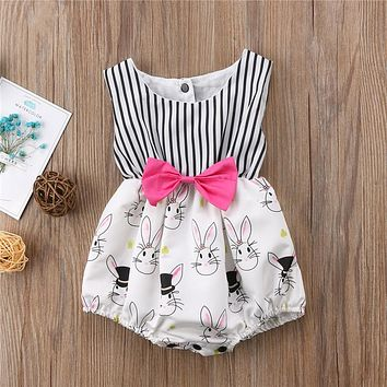 Newborn Clothing  Summer Toddler Baby Girls Sleeveless Easter Bunny Clothes Bodysuit Outfits Baby Girl Clothes