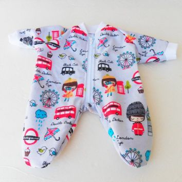 "BOY DOLL CLOTHES, Bitty Baby Doll Clothes Adorable Pajamas 15"" London Eye flannel Blue Pajamas"