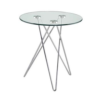 Eurostyle Zoey Round Clear Glass Side Table w/ Chromed Steel Base