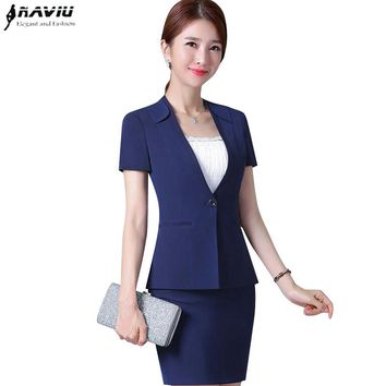 New Summer business temperament women skirt suit formal plus size short sleeve blazer with skirt office ladies Work uniforms