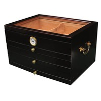 Palermo 3 Drawer Glass Top Desktop Humidor - Holds up to 150 Cigars