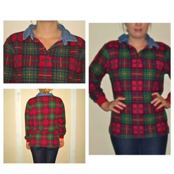 90s Jean Denim Plaid Collar Flannel Pullover Crewneck Sweatshirt
