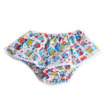 Cute Owl Skoomer for infant and toddler girls / Cartoon, handmade skirt, ruffles, colorful bloomer, diaper cover. Perfect for your princess!