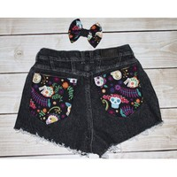 Black Day of The Dead High-Waisted Shorts, FRANCISCO COLLECTION with Free Hairbow, 28