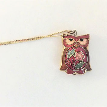 Vintage 1970s Owl Necklace, Cloisonne Owl Necklace, Bird Necklace on long thin gold serpentine chain