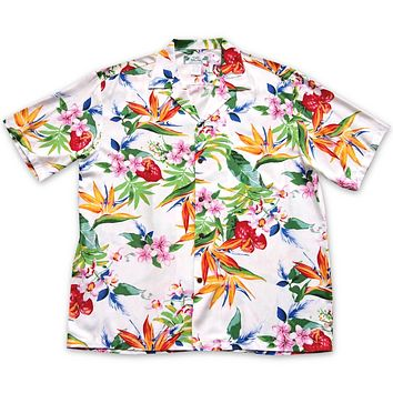 Jungle White Hawaiian Rayon Shirt