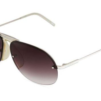 DCCKNY1 GUCCI WOMEN'S TWO TONE AVIATOR SUNGLASSES, WHITE WITH BLACK LENSES