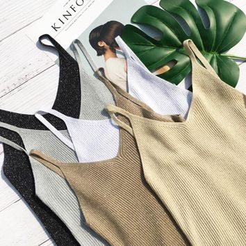 2018 Summer Women stretch Knitting v neck Camisole Tops Female Bodycon Knitted Tanks party Tank top Sleeveless Basic T shirts