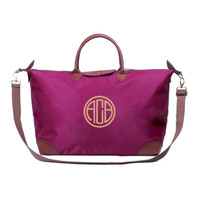 Personalized Berry Purple Longchamp Le Pliage Inspired XL Travel Bag