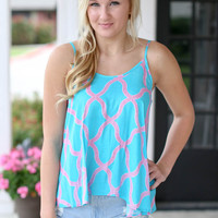 Mojito Madness Tank - Mint and Pink