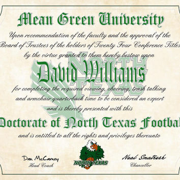 "University of North Texas - UNT Mean Green Ultimate Football Fan Personalized Diploma - Perfect Gift -8.5"" x 11"" Parchment Paper"