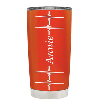 Personalized Heart Beat Pulse on Vermilion 20 oz Tumbler Cup
