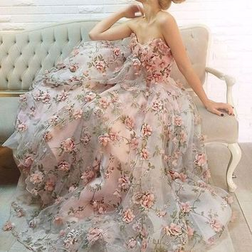 3D Organza Lace Fabric Chiffon Rosette Flowers Appliques in Dust Pink Bridal Gown Fabric By Yard