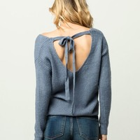 WOVEN HEART Tie Back Womens Sweater