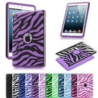 COMBO! Jersey Bling® Zebra Hybrid 2 Piece Fusion, Protector, Defender Ipad Mini Case Cover with 1 Stylus Touch pen (Black with Purple)