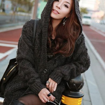 Cable-Knit Hooded Cardigan