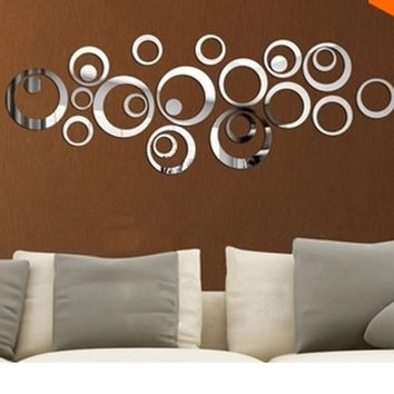 24pcs 3d   Diy home decoration tv wall stick decoration mirror wall stickers,best gift = 1946598084
