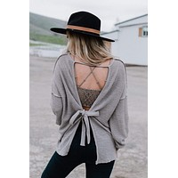 Looking Over My Shoulder Open Back Sweater - Taupe
