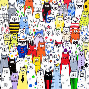 Cat art limited edition print 'Pick and Mix' by DianaParkhouse