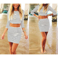 Sexy two pieces black white stripe short sleeves dress