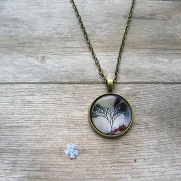 Tree of life jewelry, Tree Print, Tree necklace, necklace pendants, photo pendant, glass jewelry, cool necklaces, glass cabochon,art jewelry