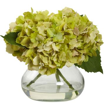 Silk Flowers -Blooming Green Hydrangea With Vase Artificial Plant