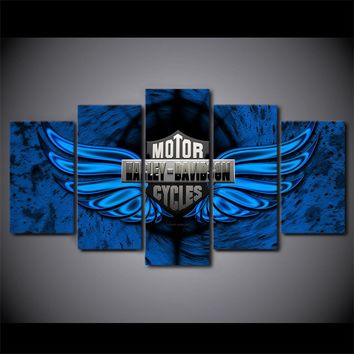 Harley-Davidson bar and shield logo with blue wings - 5 Piece Canvas Art