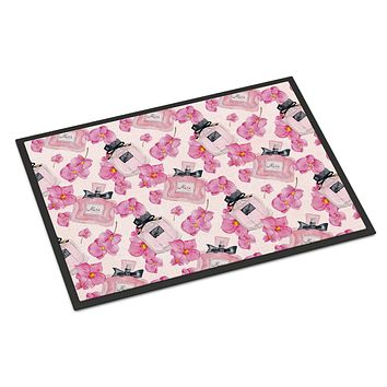 Watercolor Pink Flowers and Perfume Indoor or Outdoor Mat 18x27 BB7510MAT
