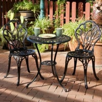 Traditional 3 Piece Bistro Set Stylish Outdoor Patio Furniture Table Chairs New