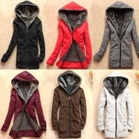 USD J22 Womens Thicken Hoodie Outerwear Jacket Coat Casual Size M ~ 6 Colors ~