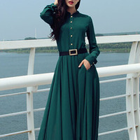 'The Florencia' Long Sleeve Chiffon Maxi Dress