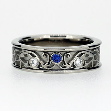 Blue sapphire and white diamond filigree ring, engagement ring, wide filigree, wedding band, blue, white gold, unique, sapphire filigree