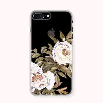 Floral iPhone 7 Case, iPhone 7 Plus Case, iPhone 6/6S Case, iPhone 6/6S Plus Case, iPhone 5/5S/SE Case, SAMSUNG Galaxy Case - White Peony