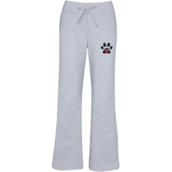 Embroidered My Heart Paw Print Women's Open Bottom Sweatpants with Pockets