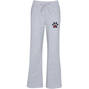 "Embroidered ""My Heart"" Paw Print Women's Open Bottom Sweatpants with Pockets"